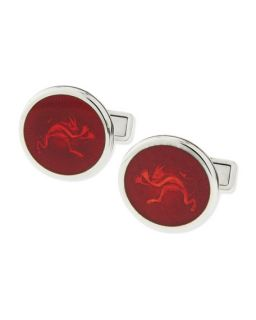 dunhill Enamel Tweenie Devil Cuff Links, Red