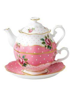 Royal Albert Cheeky Pink vintage tea for one set