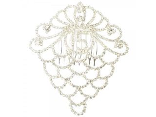 Number 15 Crown Shape Wedding Bridal Rhinestone Hair Comb Accessory Pin Silver
