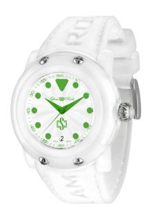 Women's Crazy Sexy Cool White Sil. and Dial Green Accents White Resin