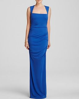 Nicole Miller Gown   Square Neck Open Back