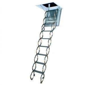 Fakro 66858 Attic Ladder, LSF Series 47 in. x 22 in. 9 ft. 10 in. Metal Insulated Steel Scissor   300 lbs. Load Capacity