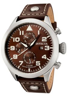 Men's I Force Brown Genuine Leather & Dial Contrast Stitch