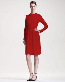 Valentino Stitched Cady Long Sleeve Dress
