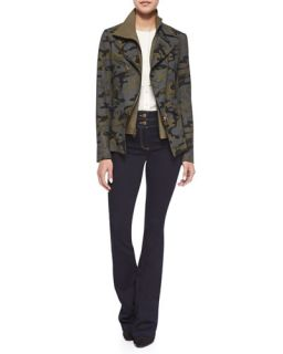 Veronica Beard Hadley Camouflage Jacket with Moto Dickey & Flare Leg Dark Stretch Jeans