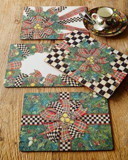 MacKenzie Childs Evergreen Cork Back Placemats, Set of 4
