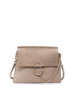 Chloe Faye Medium Leather/Suede Bag, Gray
