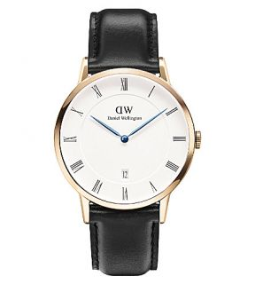 DANIEL WELLINGTON   1101DW Dapper Sheffield rose gold plated and leather watch