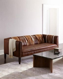 Old Hickory Tannery Pierce Hairhide Leather Sofa