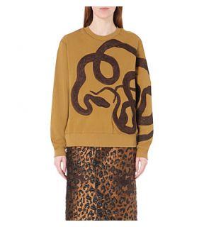 DRIES VAN NOTEN   Holme snake embroidered cotton jersey sweatshirt