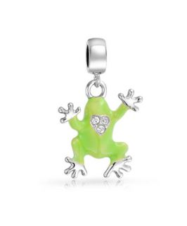 Bling Jewelry Bling Jewelry 925 Sterling Silver Green Frog Prince Dangle Charm Fits Pandora (365016501)