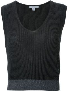 Tome Ribbed V Neck Knitted Top   D'na