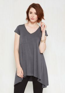 A Crush on Casual Tunic in Grey  Mod Retro Vintage Short Sleeve Shirts