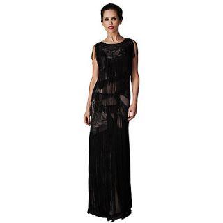 Phase Eight Black Tallulah Fringed Full Length Dress