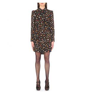 ALEXANDER MCQUEEN   Obsession print silk shirt dress
