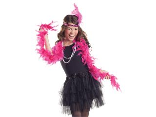 Kids Flapper Halloween Costume Hot Pink Boa Beads Set
