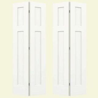 JELD WEN 72 in. x 80 in. Molded Smooth 3 Panel Craftsman Brilliant White Hollow Core Composite Bi fold Door THDJW160200110
