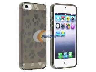 Insten Clear Smoke Dog Paw TPU Rubber Skin Case Cover + Colorful Diamond LCD Cover Compatible with Apple iPhone 5