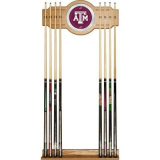 Trademark Texas A&M University 30 in. Wooden Billiard Cue Rack with Mirror LRG6000 TAMU