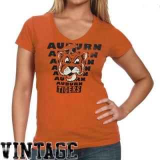 Auburn Tigers Ladies Vintage Vault V Neck T Shirt   Orange
