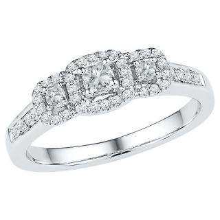 Womens 0.40 CT.T.W Round Diamond Prong Set Three Stone Fashion Ring