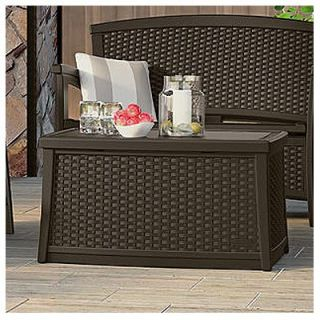 Suncast Deck Box Coffee Table, Wicker Look Resin, 30 Gal.: Model# BMDB3010