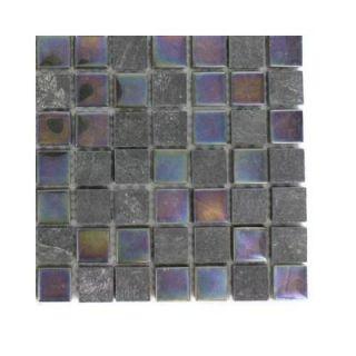 Splashback Tile Tectonic Squares Black Slate and Rainbow Black Glass Floor and Wall Tile   6 in. x 6 in. Tile Sample R6B1 STONE MOSAIC TILE