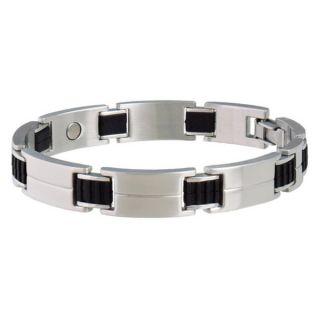 Sabona Sport Stainless Steel and Rubber Magnetic Bracelet   13497528