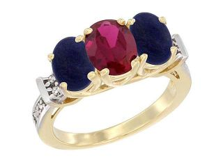 14K Yellow Gold Natural High Quality Ruby & Lapis Sides Ring Oval 3 Stone Diamond Accent, sizes 5   10