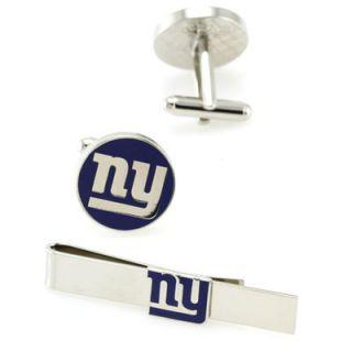 New York Giants Silvertone Team Logo Tie Clip & Cufflinks Set