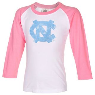 North Carolina Tar Heels Toddler Girls Raglan Three Quarter Sleeve T Shirt – White