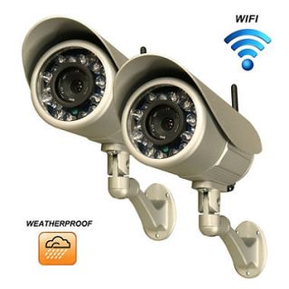 Two Piczel Wi Fi Wireless Internet Weatherproof Cameras with Smartphone Control and Image E mail   Model 164