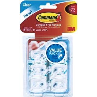 Command Mini Clear Hooks With Strips Value Pack 18/Pack (17006CLR VP)   4 /Box   Hook Adhesive & Stick Ons