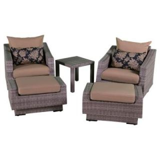 RST Brands Cannes 5 Piece Patio Club Chair and Ottoman Set with Delano Beige Cushions OP PECLB5 CNS DEL K