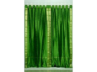 Forest Green  Tab Top  Sheer Sari Curtain / Drape / Panel     80W x 108L   Piece