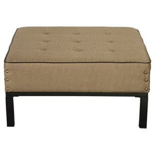 Homepop Tufted Square Oversized Cocktail Ottoman – Brown Houndstooth