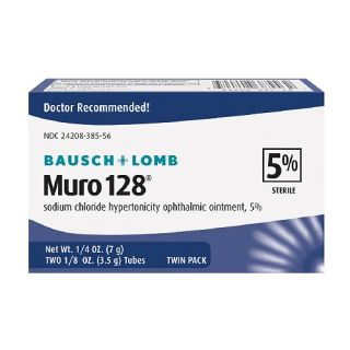 Muro 128 Sodium Chloride Hypertonicity Ophthalmic Ointment, 5% Sterile,Twin Pack