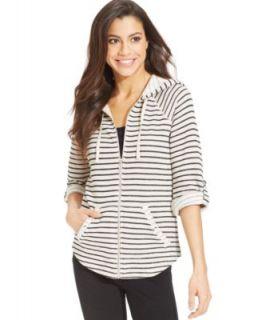 Karen Scott Petite Long Sleeve Zip Up Hooded Jacket   Tops   Women