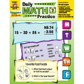 Daily Math Practice Grade 3 Book by Evan Moor