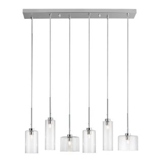 Dainolite Lighting Industrial Chic 7 in W 6 Light Polished Chrome Standard Kitchen Island Light with Clear Shade