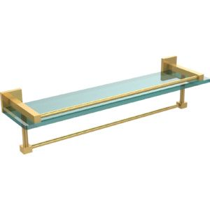Allied Brass MT 1 22TB GAL UNL Montero Unlacquered Brass  Vanity & Glass Shelving Bathroom Accessories
