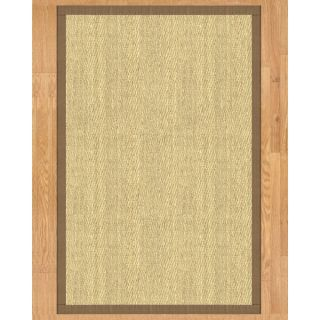 Handcrafted Costa Rica Natural Seagrass Rug   Taupe Binding, (8 x 10