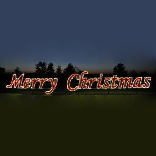Holiday Lighting Specialists 5.75 ft Merry Christmas Outdoor Christmas Decoration with LED White Lights