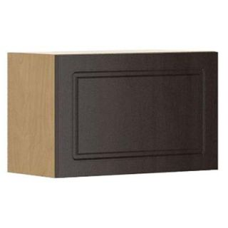Fabritec Ready to Assemble 24x15x12.5 in. Bern Wall Bridge Cabinet with Horizontal Hinge in Maple Melamine and Door in Dark Brown W2415HZ.M.BERNE