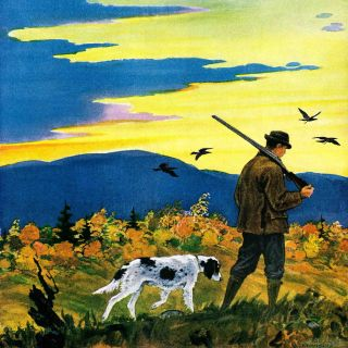Duck Hunter and Dog by Paul Bransom Painting Print on Wrapped Canvas