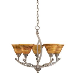 Cambridge 5 Light Brushed Nickel 22.75 in. Chandelier with Saturn Fire