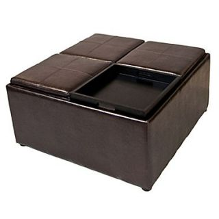 Simpli Home Avalon Faux Leather Coffee Table Storage Ottoman, Brown