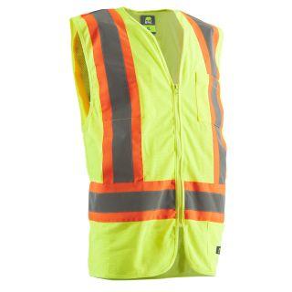 BERNE APPAREL Large Hi Vis Yellow Polyester High Visibility Reflective Safety Vest