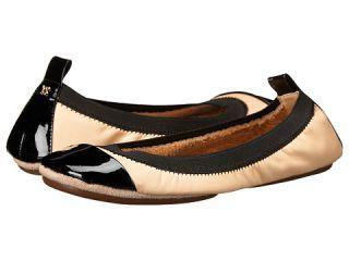 Yosi Samra Samantha Soft Leather Fold Up Flat with Contrast Cap Toe Nude/Black