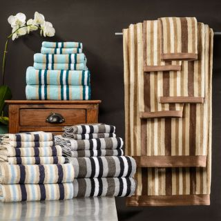 Superior Collection Luxurious Stripes 100 percent Cotton 6 piece Towel